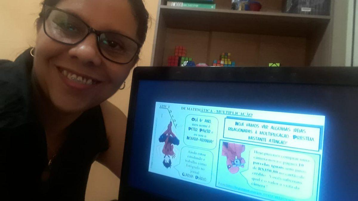 Professora da rede municipal de ensino de Florianópolis utiliza desenhos animados para o ensino remoto
