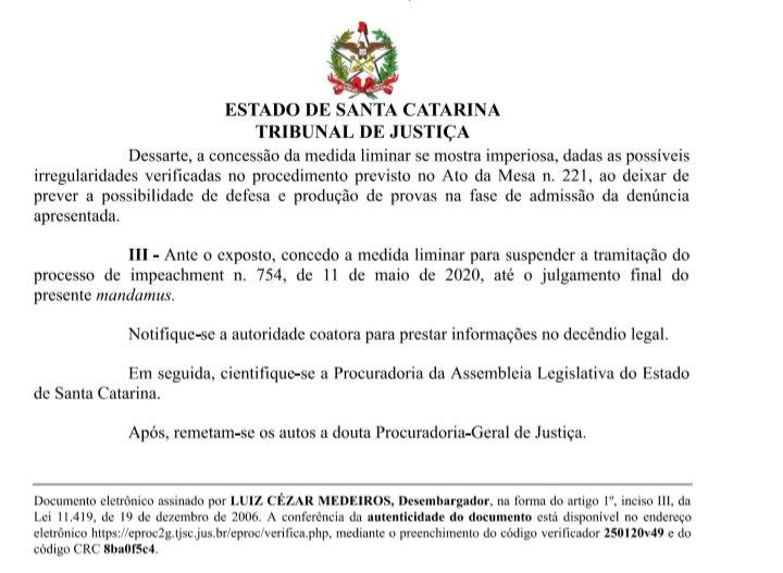 Desembargador do TJSC Concede liminar para suspender o processo de impeachment contra o Governador Carlos Moisés da Silva em Florianópolis