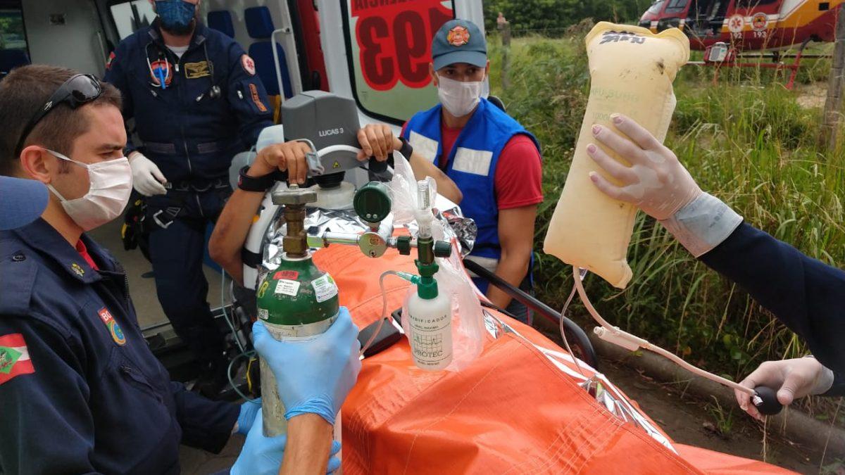 Vítima em Parada Cardiorrespiratória é socorrida pelo Arcanjo-01 em Palhaça/SC