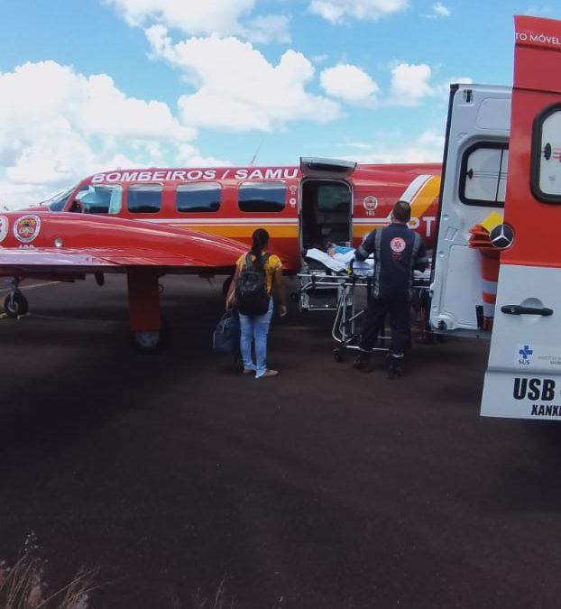 Avião do Corpo de Bombeiros fez transporte aeromédico de bebê com problemas renais em SC