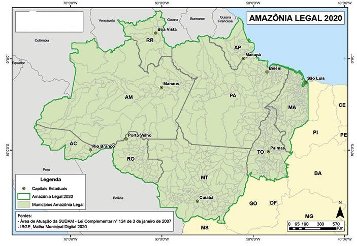 Conheça o limites de municípios no mapa da Amazônia Legal