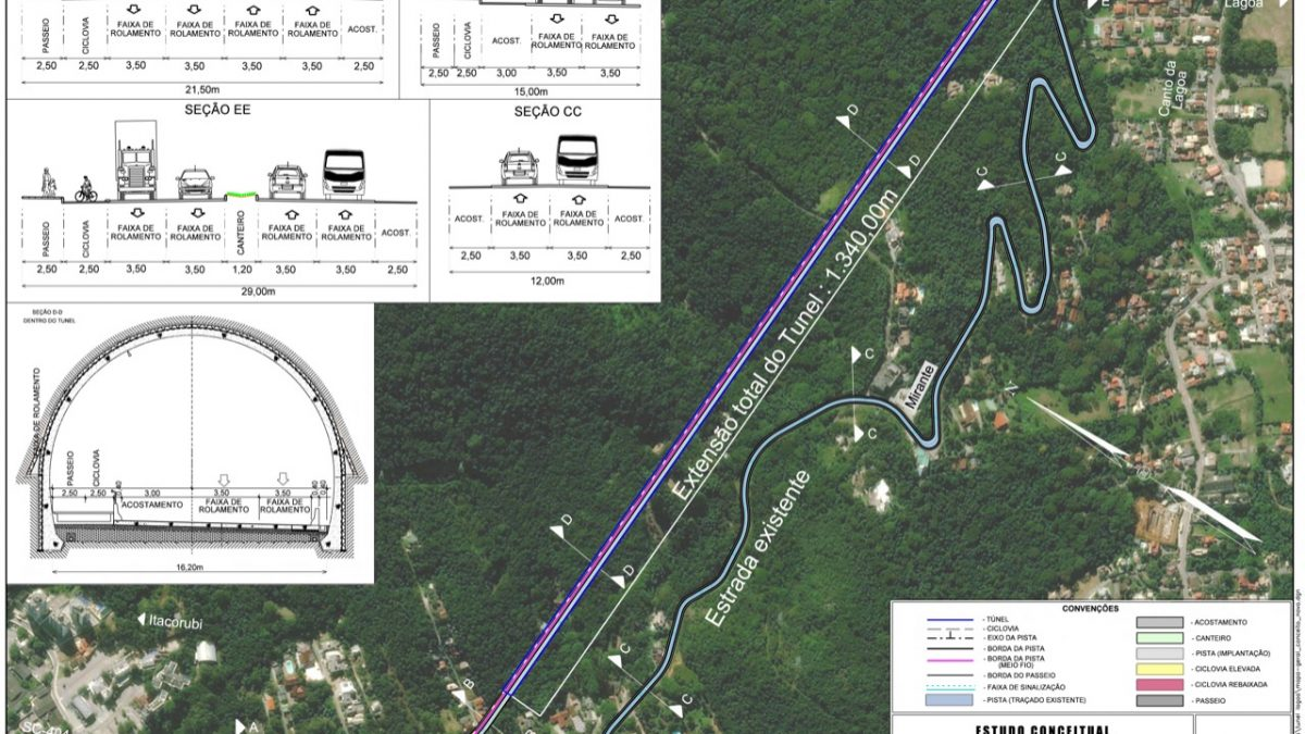 Florianópolis terá túnel com ciclovia no Morro da Lagoa da Conceição